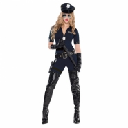Ladies costume police, catsuit, hat, belt, holster and gloves size M or L 625kr