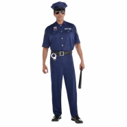 Men´s costume police shirt, hat, trousers and belt size M or L 379kr