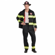 Men´s costume fireman trousers, jacket, helmet and braces size M or L 549kr