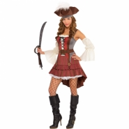 Ladies costume pirate dress, hat and sleeves size M or L 529kr