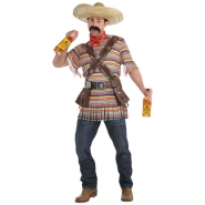 Men´s costume bandidos poncho, holster, 8 shotglasses, sombrero and 2 bandoliers size  M L 475kr