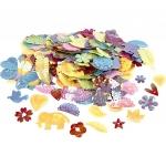 Paljetter karnevalsmix, stl. 15-45 mm, pärlemorsfärger, 30g 25kr