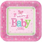 Papperstallrikar 26cm 8p welcome baby girl 39kr