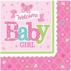 Servetter welcome baby girl 16p 33kr