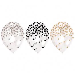 Ballonger pearl med konfettitryck 6p - Ballonger med konfettitryck 6p