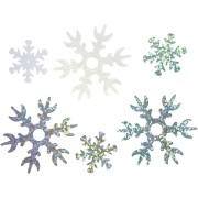 Konfetti/Paljetter, dia. 25+45 mm, ljusblå, vit, silver, Snöflingor, 30g