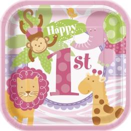 Papperstallrikar 1-års rosa safari 8p - Papperstallrikar 1-års rosa safari 8st