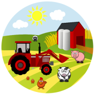 Tårtbild Bondgård traktor djur 59kr
