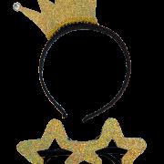 Stjärnglasögon och diadem med krona holog.guld