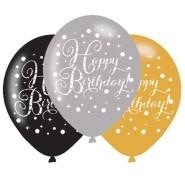 Ballonger 27,5cm 6st Gold celebration Happy birthday 29kr