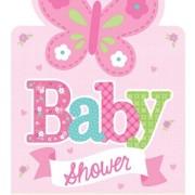 Babyshower inbjudan welcome baby girl 8p