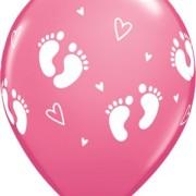 Ballonger 6st babyfötter rosa
