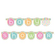 Banner babyshower 1,32m polka dot.