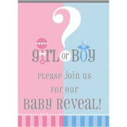 Inbjudan Baby reveal party 8p
