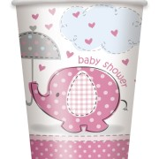 Pappersmuggar 8p umbrellephants pink