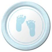 Papperstallrikar 8p babyfötter ljusblå