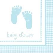 Servetter 16p babyfötter ljusblå