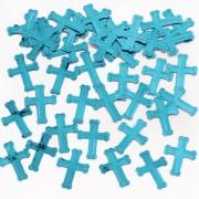 Konfetti 14g Kors metallic-turkosblå