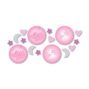 Konfetti babyskor, fjäril, måne rosa 14g