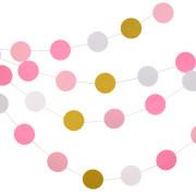 Pappersgirlang 3,6m rosa,vit,guld