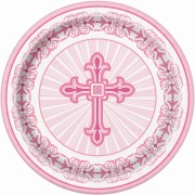 Papperstallrikar 8p radiant cross pink