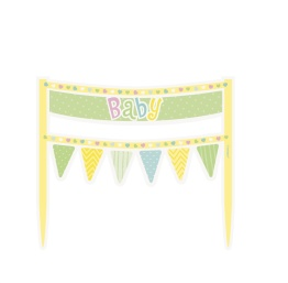 Baby cake banner yellow 16,5cm - Baby cake banner yellow 16,5cm