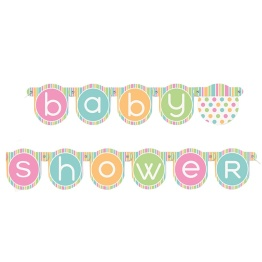 Banner babyshower 1,32m polka dot. - Banner babyshower 1,32m polkadots