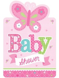 Babyshower inbjudan welcome baby girl 8p - Babyshower inbjudan welcome baby girl 8p