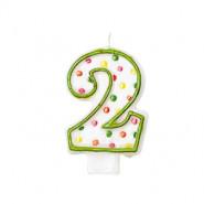 Tårtljus siffra 2 multifärg 12kr