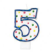 Tårtljus siffra 5 multifärg 12kr
