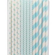 Sugrör av papper 24p blå mönster