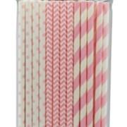 Sugrör av papper 24p rosa mönster