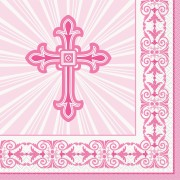 Servetter 16p radiant cross pink