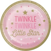 Papperstallrikar 8p Twinkle little star pink