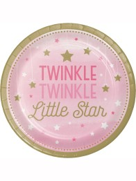 Papperstallrikar 8p Twinkle little star pink -
