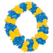 Blomsterhalsband gul och blå