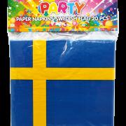Servetter 20p Svenska flaggan.