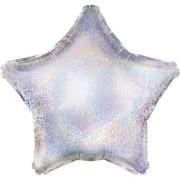 Folieballong 48cm Stjärna holografisk silver