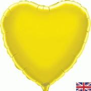 Folieballong 45cm Hjärta gul