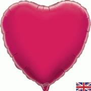 Folieballong 45cm Hjärta fuschia