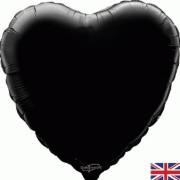 Folieballong 45cm Hjärta svart