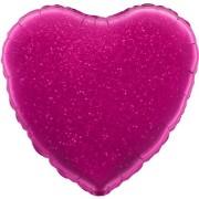 Folieballong 45cm Hjärta holografisk fuschia