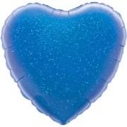 Folieballong 45cm Hjärta holografisk blå