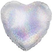 Folieballong 45cm Hjärta holografisk silver