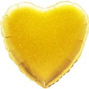 Folieballong 45cm Hjärta holografisk guld