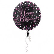 Folieballong 43cm Pink celebration Happy birthday