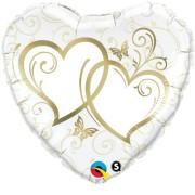 Folieballong stor 91cm guld dubbelhjärta