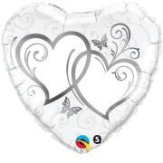 Folieballong 45cm silver dubbelhjärta