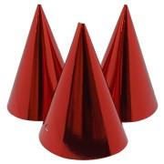 Partyhattar 6p Röd metallic