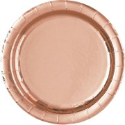 Pappersassietter 17,1 cm 8p metallic rose gold
